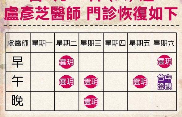 《雲玥公告》8/14(六) 起 盧彥芝醫師 恢復門診